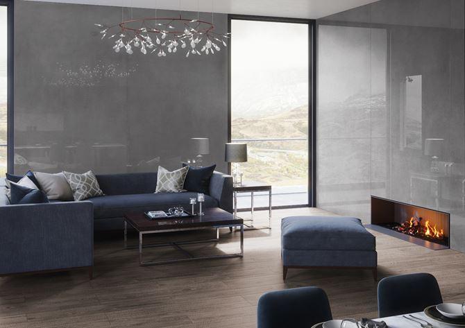 Duży nowoczesny salon w płytce Cerrad Concrete Graphite poler