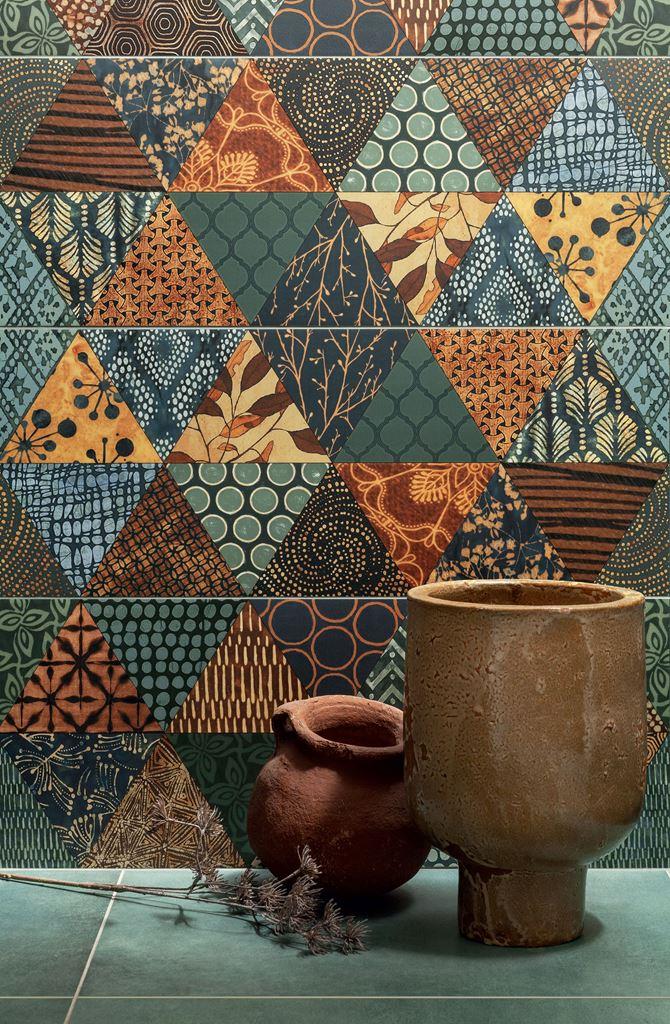 Detal kolorowych dekorów ściennych Tubądzin Goldgreen