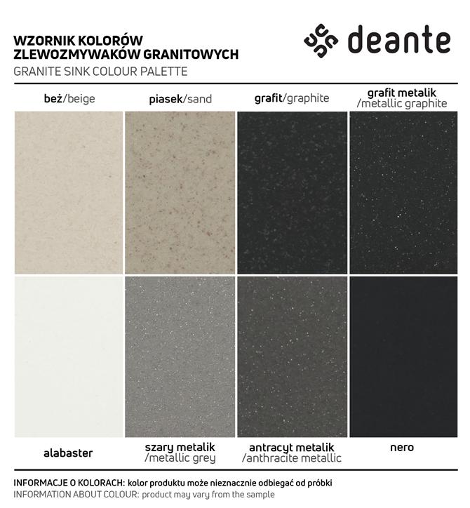 Wzornik kolorów zlewów granitowych deante