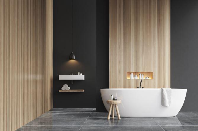 Drewno i beton połączone w minimalistycznej łazience