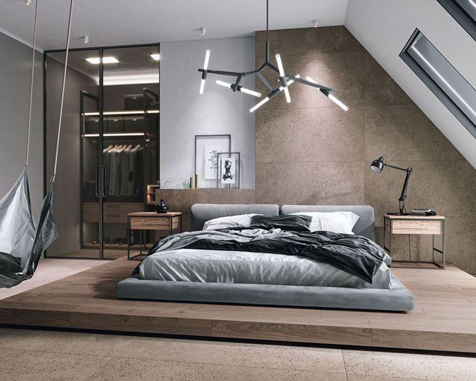 Aranżacja sypialni z garderobą w brązowej kolorystyce