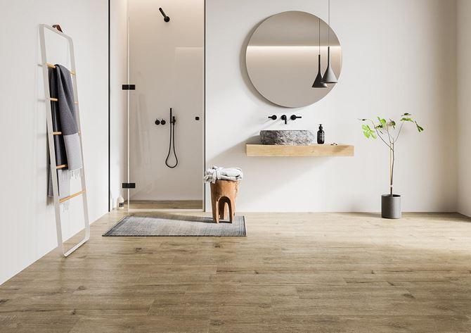 Minimalistyczne formy łazienki z Ceramiką Gres Alberon
