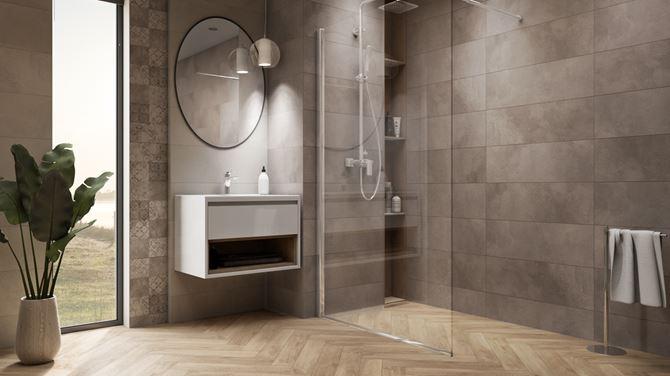 Szara łazienka z kabiną walk-in