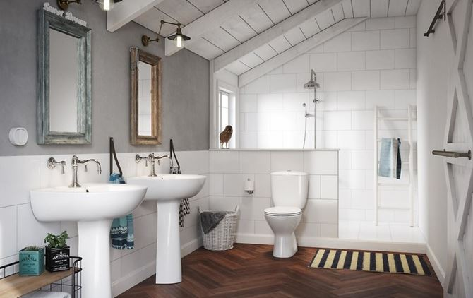 Aranżacja retro łazienki na poddaszu