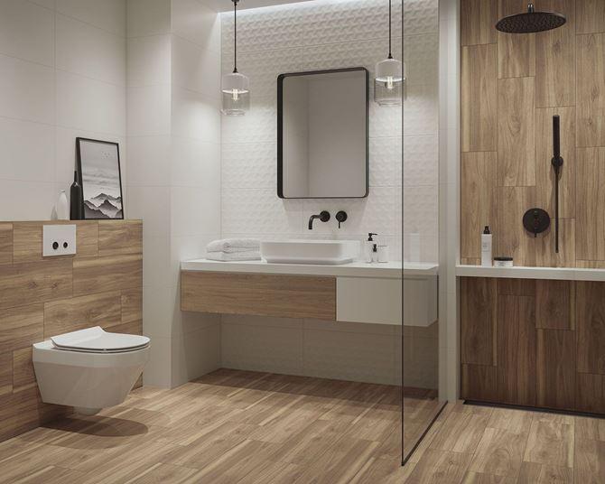 Biała łazienka wykończona drewnem