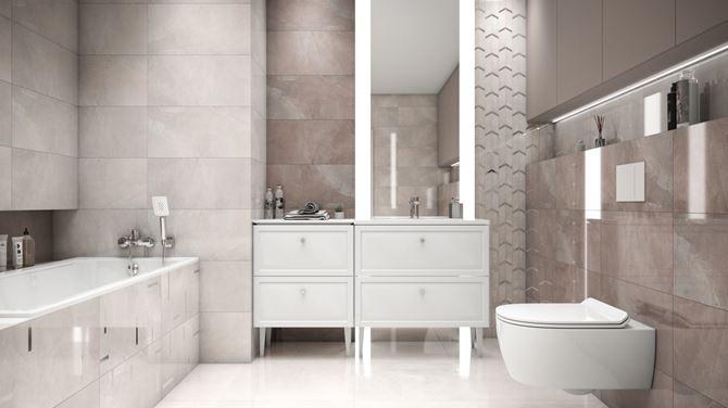 Kremowa łazienka z szarościami z kolekcją Tubądzin Muse