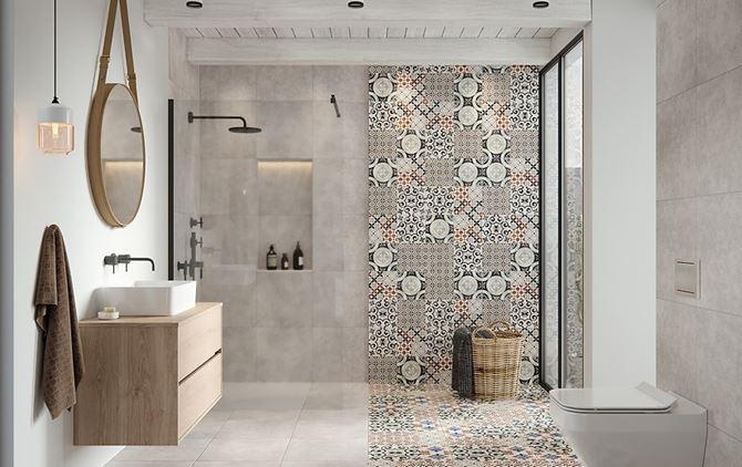 Szara łazienka z patchworkową płytką