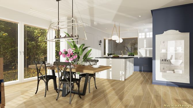 Klasyczna otwarta kuchnia z wyspą i stołem