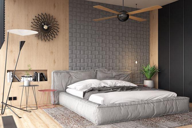 Nowoczesna sypialnia z kamienną ścianą