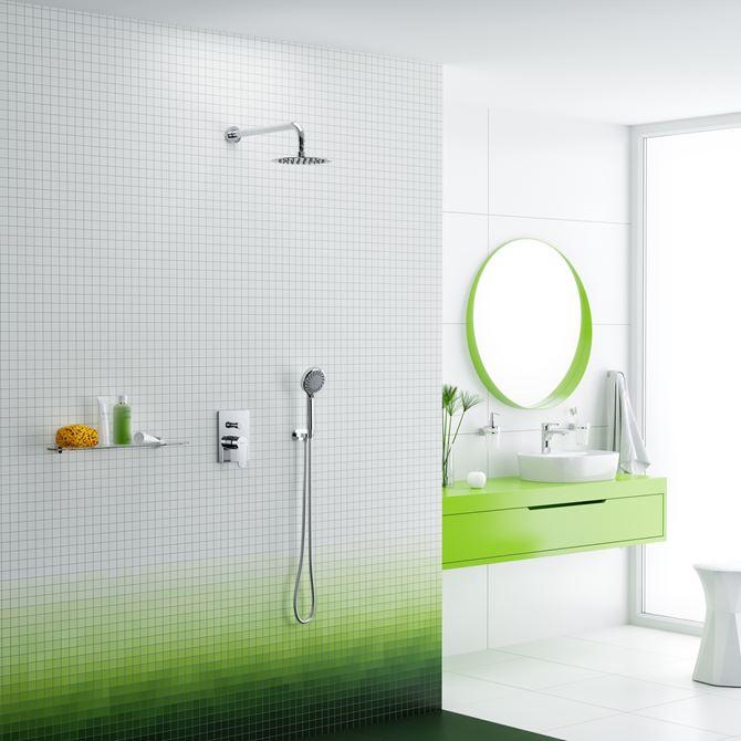 Biało-zielona łazienka z bateriami Excellent Oxalia