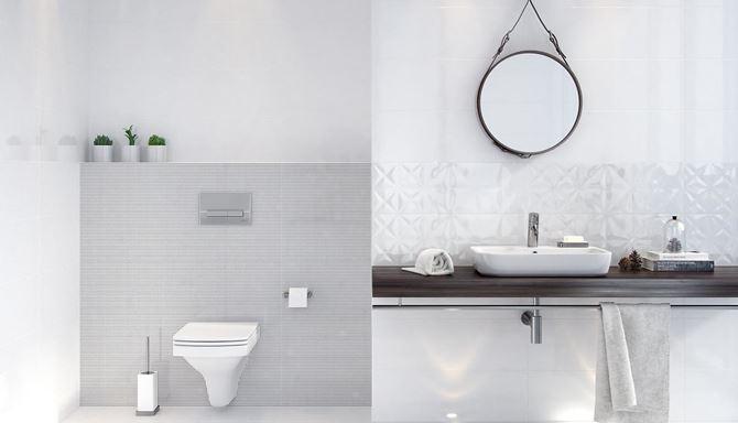 Biała łazienka i połyskliwe płytki Opoczno White Magic