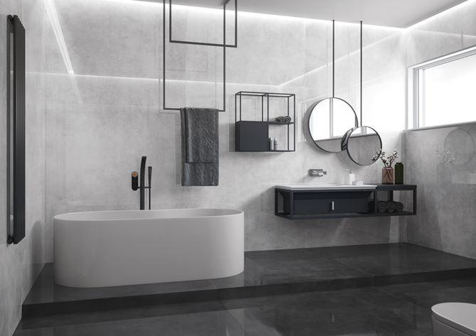 Aranżacja łazienki w kolekcji Cerrad Concrete