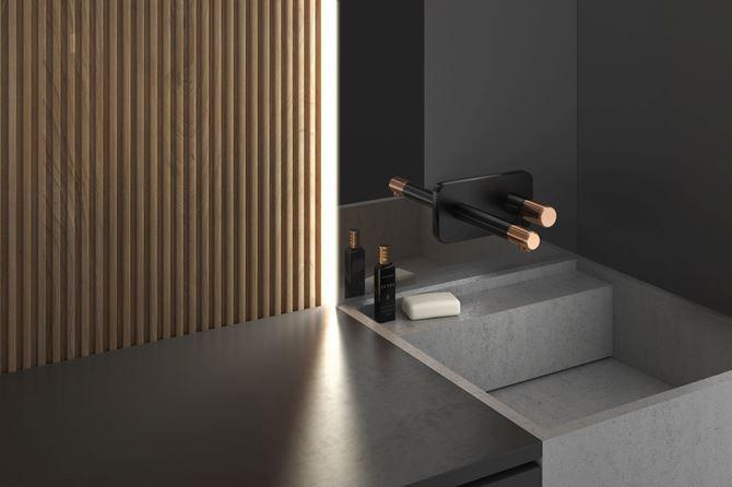 Ciemna łazienka z szarą umywalką i baterią FDesign Ardesia