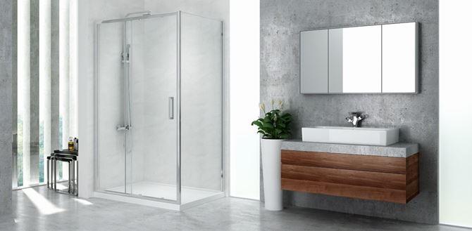 Szara łazienka z prostokątną kabiną prysznicową