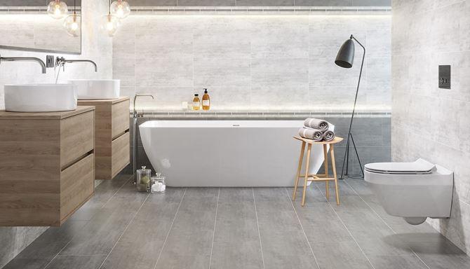 Szara łazienka z betonowymi płytkami