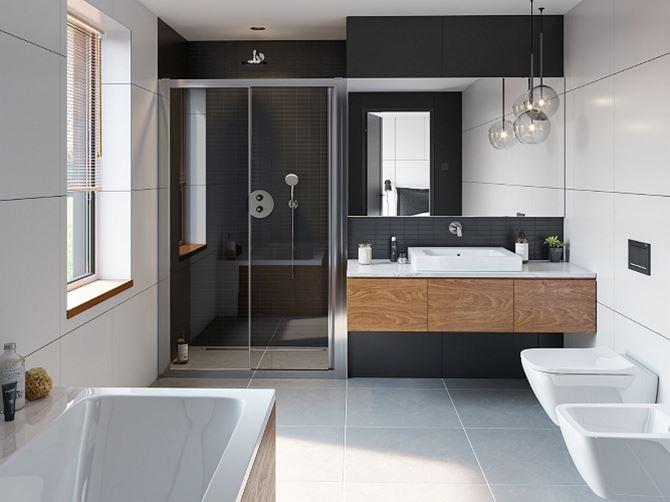 Aranżacja minimalistycznej łazienki Koło Geo