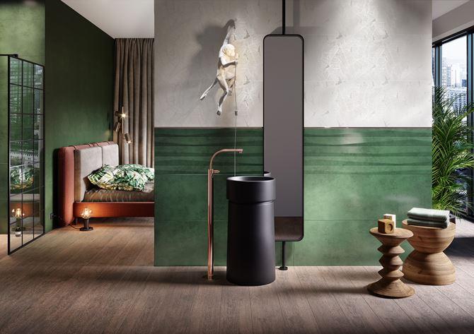 Zielona łazienka przy sypialni Opoczno Green Show