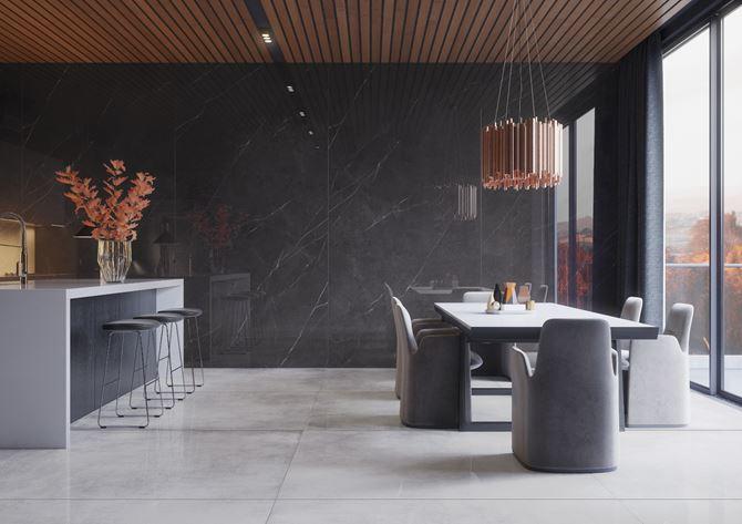 Ciemny marmur w kuchni z jadalnią
