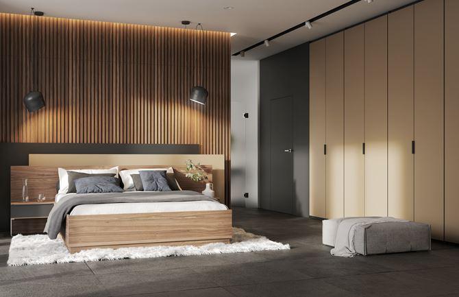 Sypialnia z drewnianym zagłówkiem z lameli