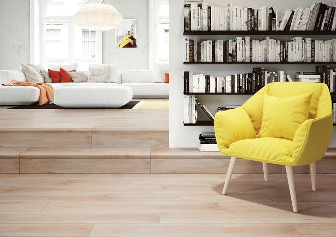 Jasny salon w drewnie Cerrad Mattina