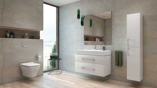 Aranżacja nowoczesnej łazienki wykończonej szarymi płytkami