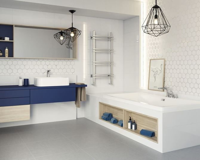 Jasna geometryczna łazienka Paradyż Grace