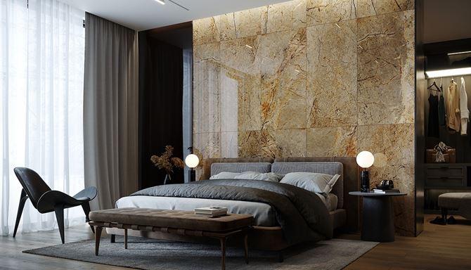 Aranżacja sypialni w beżach i brązach w stylu glamour