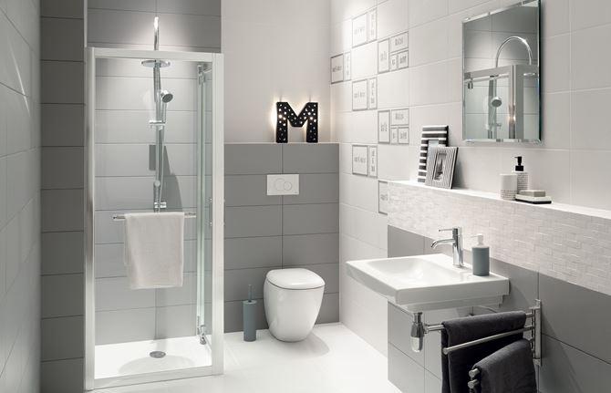 Biało-szara łazienka z mała kabiną prysznicową Domino Grafite