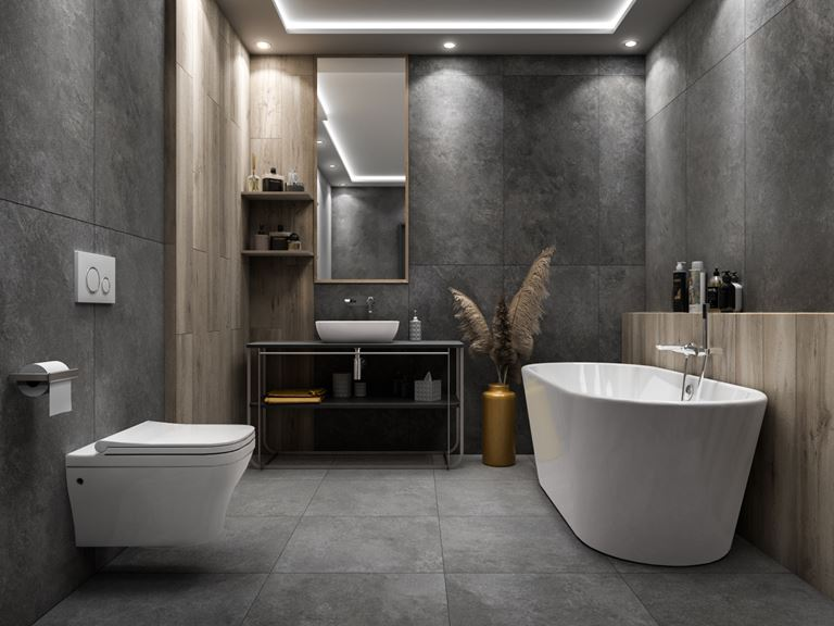 Ciemny kamień i drewno w stylowej łazience