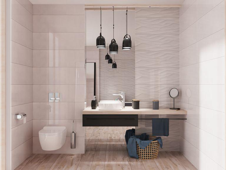 Struktura i gładkie powierzchnie w łazience
