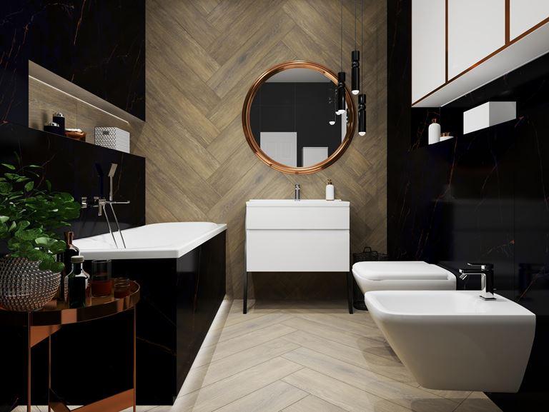 Marmurowa łazienka z drewnianą nutą