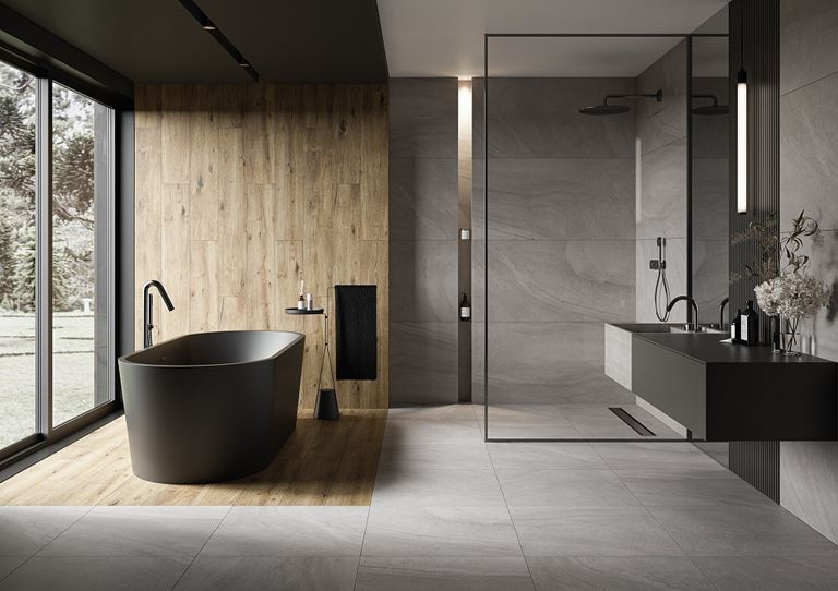 Nowoczesna łazienka w szarościach z ciemną ceramiką
