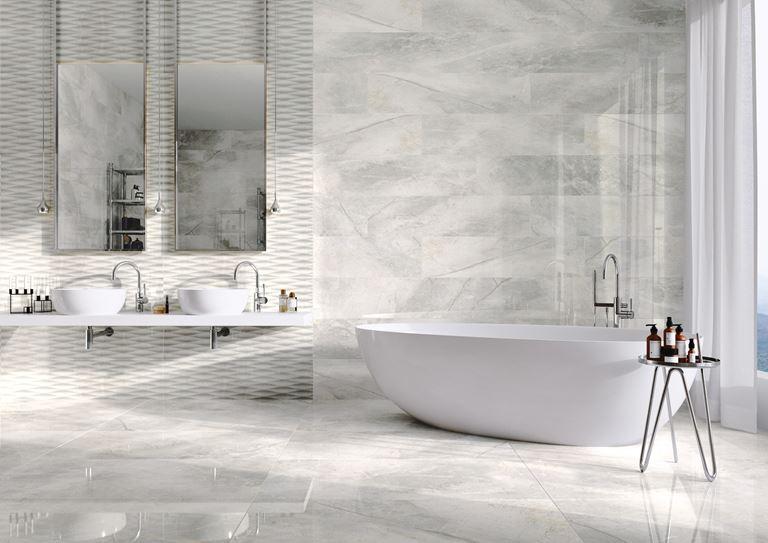 Łazienka w białym kamieniu Masterstone White
