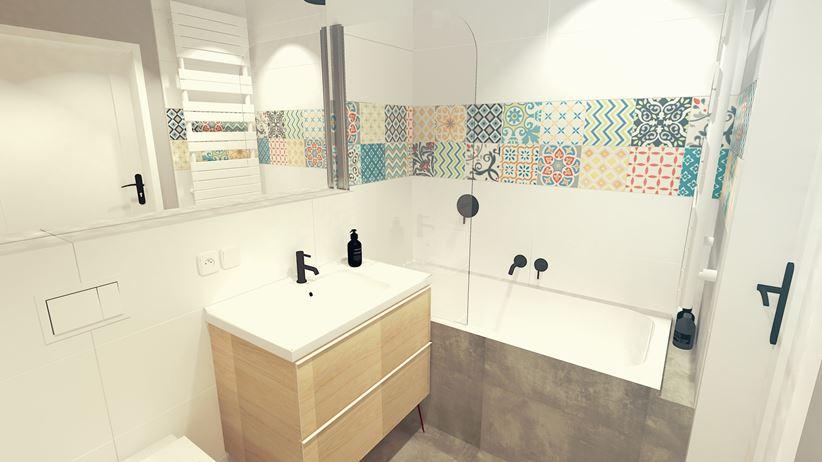Szarość i kolorowy patchwork w małej łazience