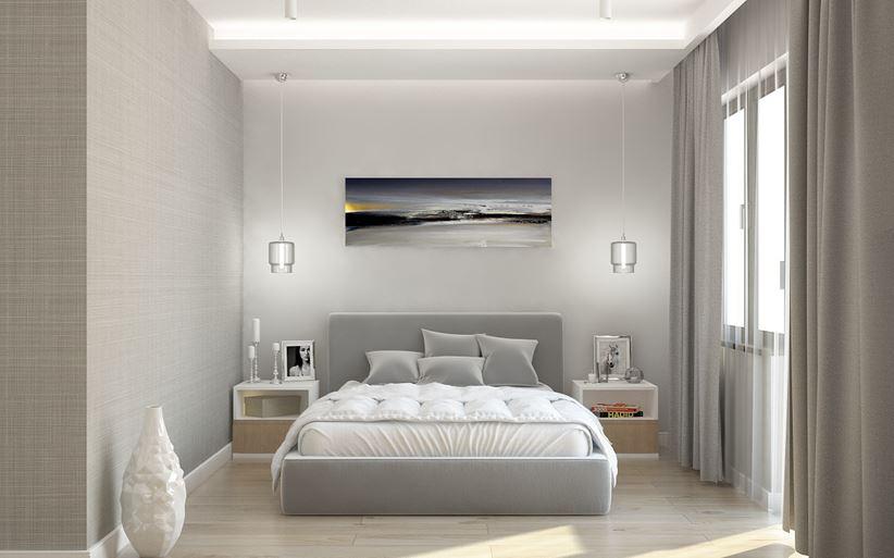 Szara sypialnia z kontynentalnym łózkiem