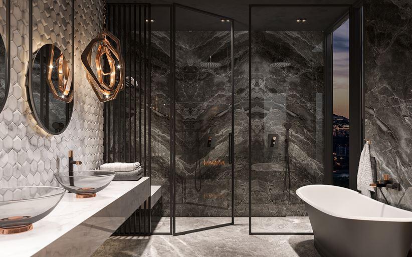 Ciemny kamień w łazience w stylu glamour