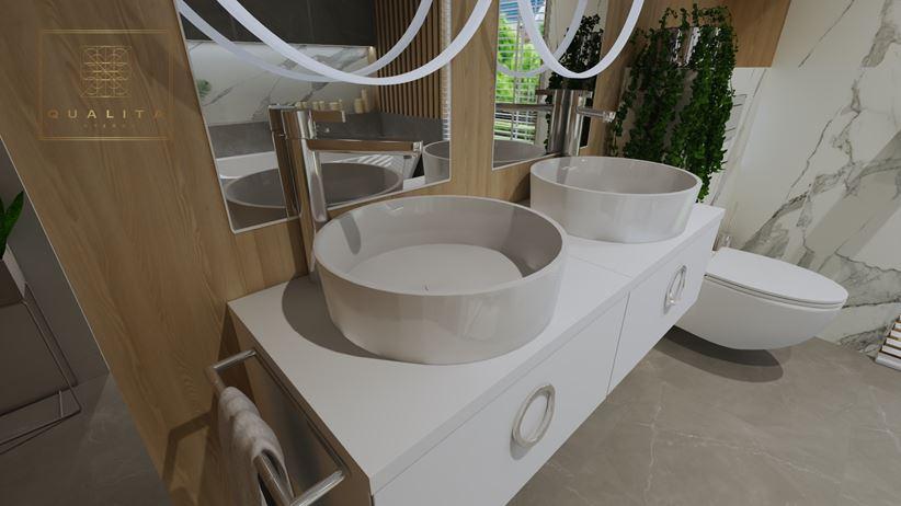 Okrągłe umywalki stawiane na blacie