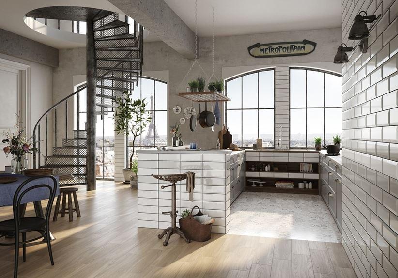 Szara kuchnia wykończona kaflami Opoczno Salsa&Metro Style