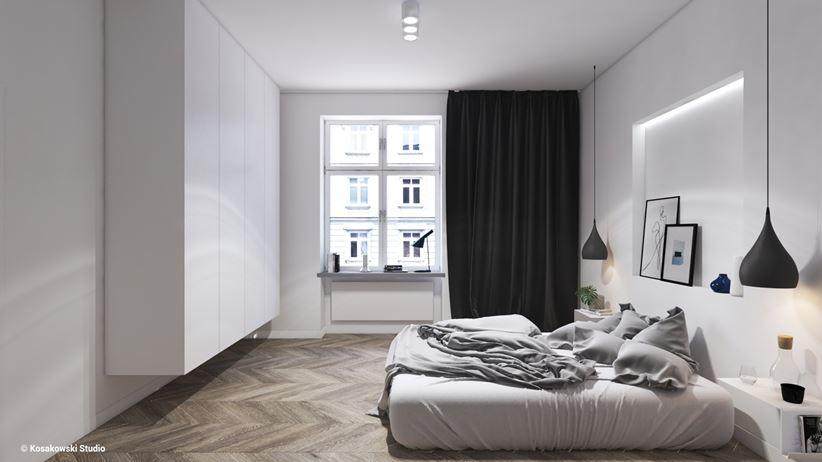 Biała sypialnia w stylu skandynawskim w kamienicy