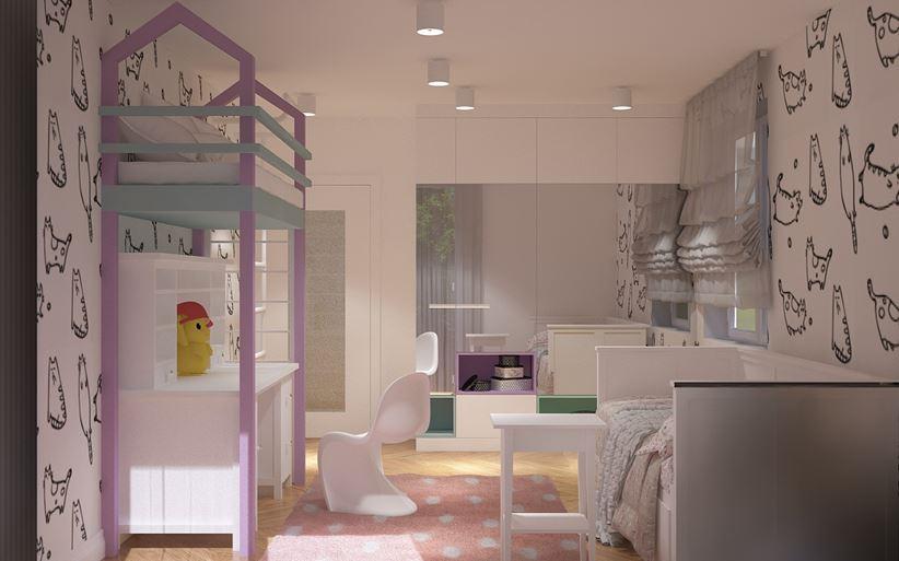 Pokój dziecięcy z dodatkowym łóżkiem piętrowym