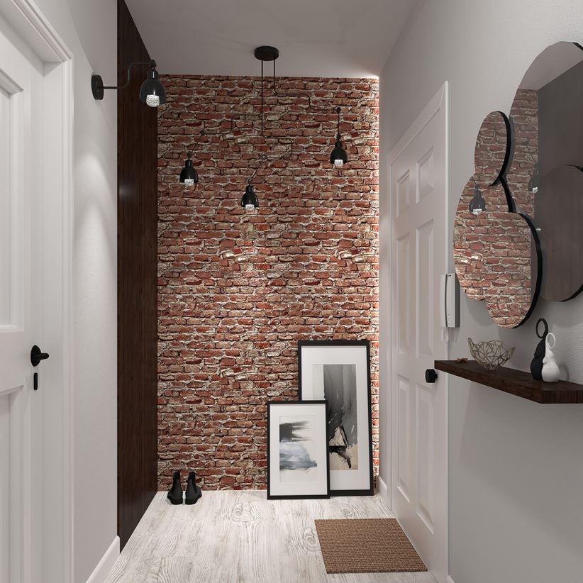 Efektowna ściana z cegły w korytarzu