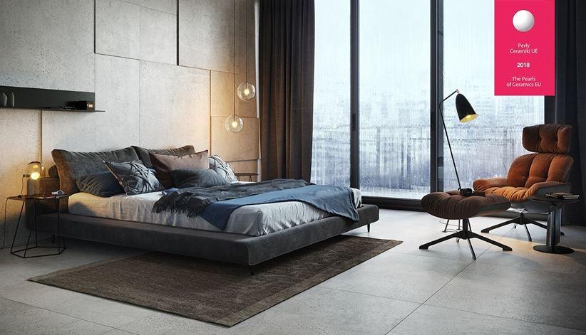 Sypialnia z betonowymi płytami