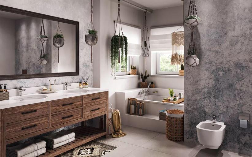 Łazienka w szarości i bieli w stylu eklektycznym