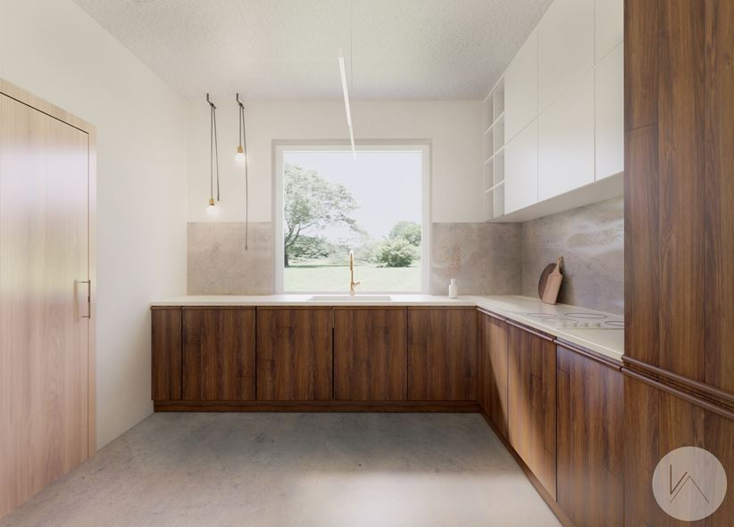 Orzechowo-biała kuchnia z minimalistycznymi frontami
