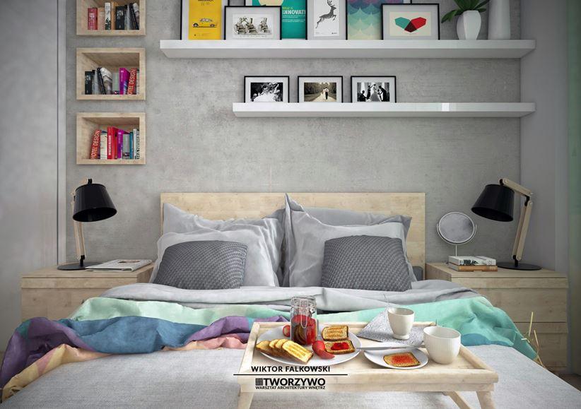 Zabudowa nad łóżkiem w sypialni