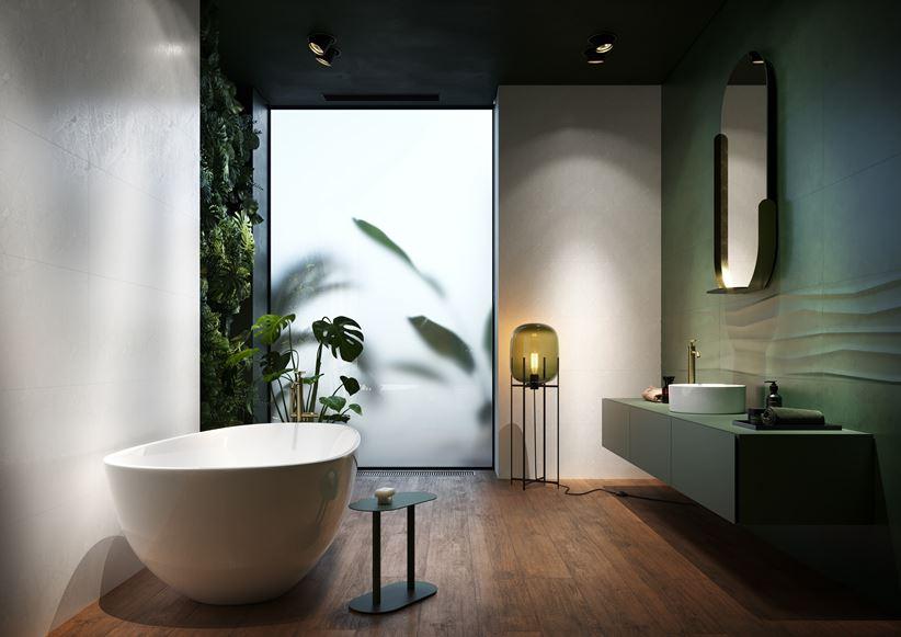 Łazienka w zieleni z wanną wolnostojącą