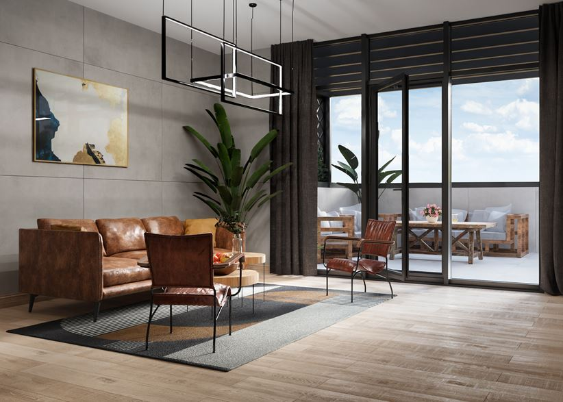 Salon w nowoczesnej aranżacji z kolekcjami Cerrad Nickwood i Concrete
