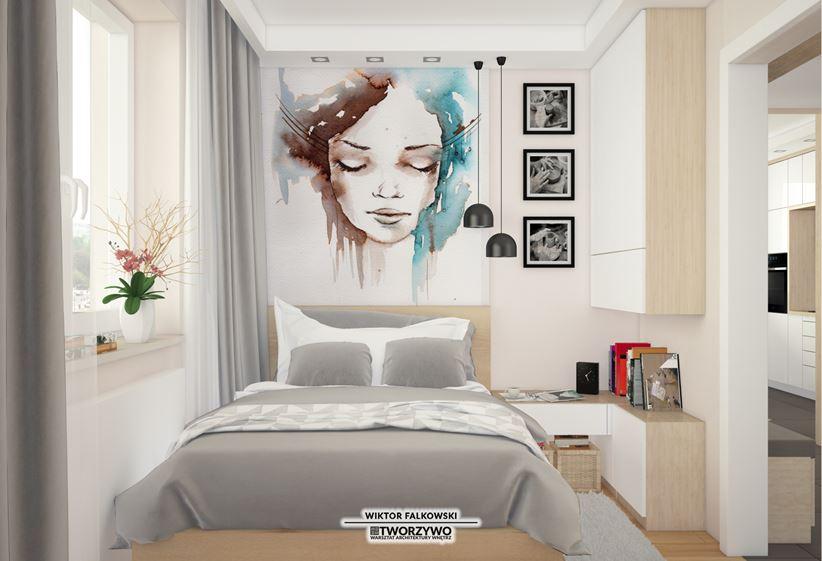 Kobieca sypialnia z dużym obrazem