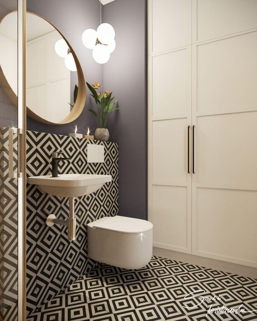 Mała łazienka z geometrycznymi wzorami