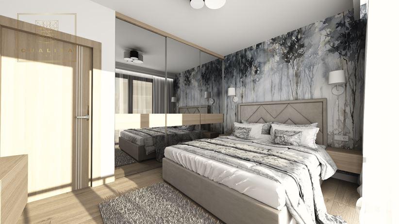 Sypialnia z leśną fototapetą i jasnym drewnem